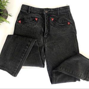 VINTAGE High waist dark denim grey jeans XS/25